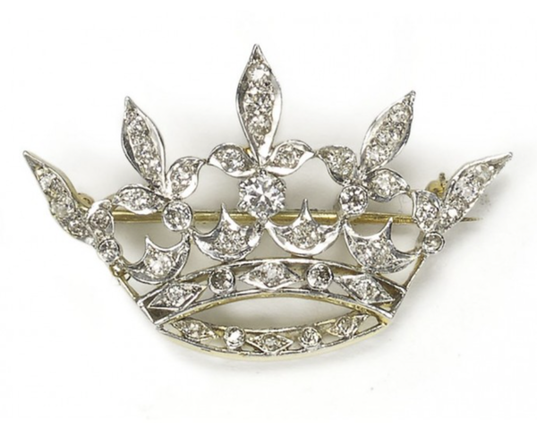 Antique Diamond Crown Brooch - image 1