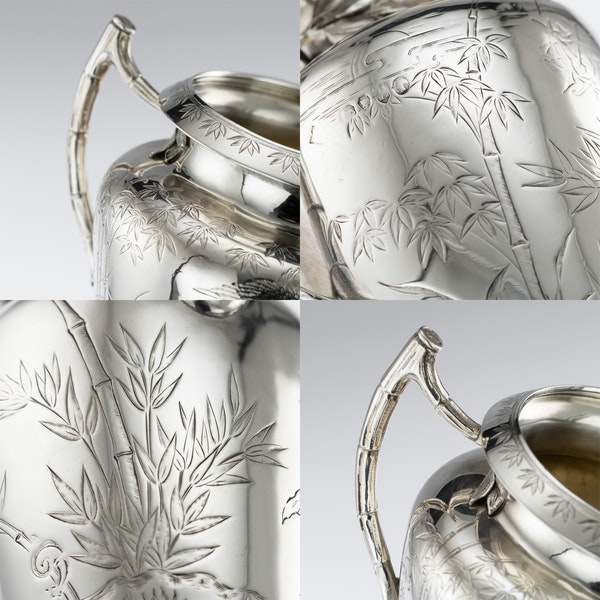 ANTIQUE 19thC VICTORIAN AESTHETIC MOVEMENT SOLID SILVER TEA SERVICE c.1880 - image 9
