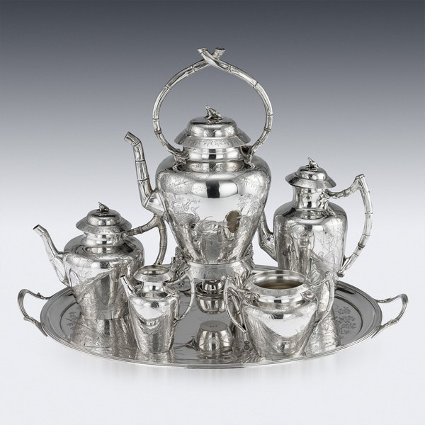 ANTIQUE 19thC VICTORIAN AESTHETIC MOVEMENT SOLID SILVER TEA SERVICE c.1880 - image 2