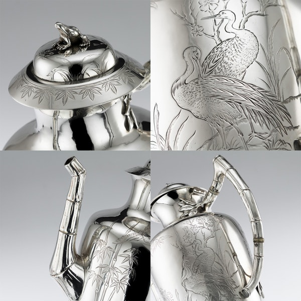 ANTIQUE 19thC VICTORIAN AESTHETIC MOVEMENT SOLID SILVER TEA SERVICE c.1880 - image 10