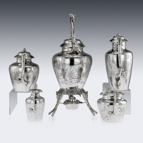 ANTIQUE 19thC VICTORIAN AESTHETIC MOVEMENT SOLID SILVER TEA SERVICE c.1880 - image 3