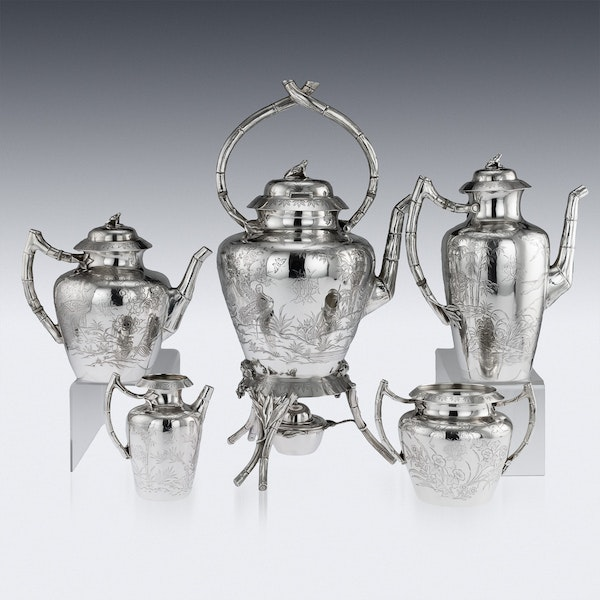 ANTIQUE 19thC VICTORIAN AESTHETIC MOVEMENT SOLID SILVER TEA SERVICE c.1880 - image 4