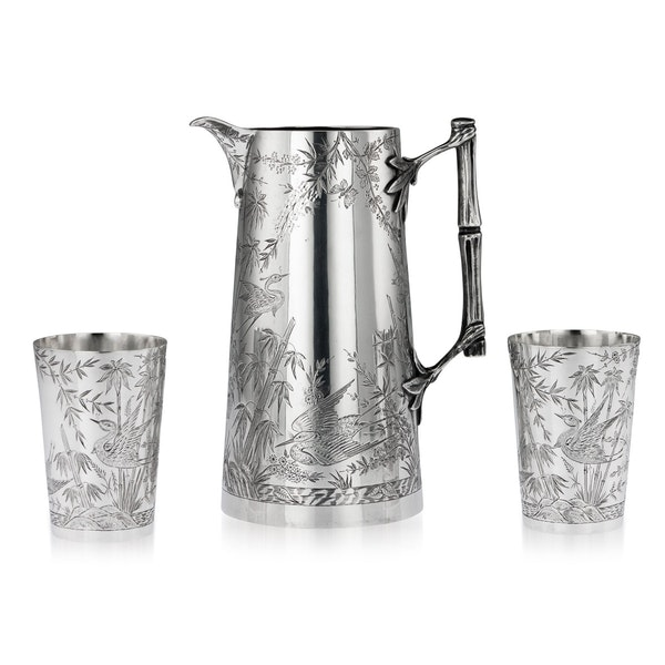 ANTIQUE 19thC VICTORIAN AESTHETIC MOVEMENT SOLID SILVER JUG & BEAKERS c.1883 - image 1