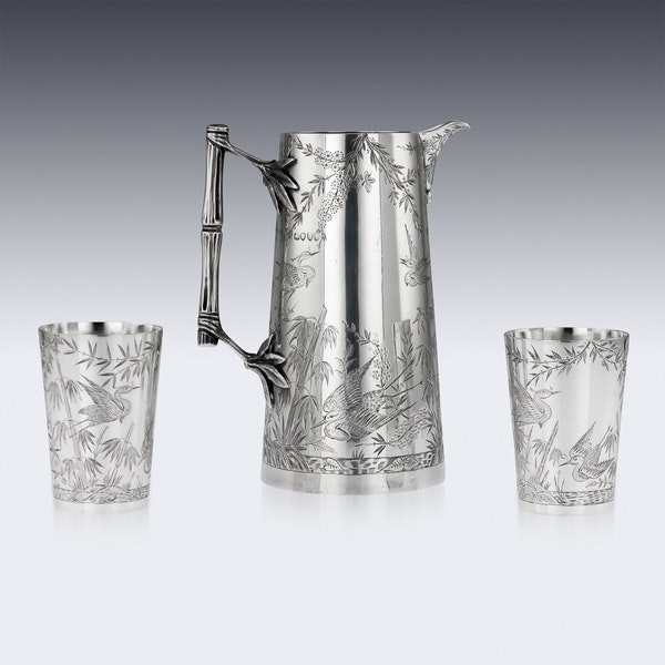 ANTIQUE 19thC VICTORIAN AESTHETIC MOVEMENT SOLID SILVER JUG & BEAKERS c.1883 - image 3