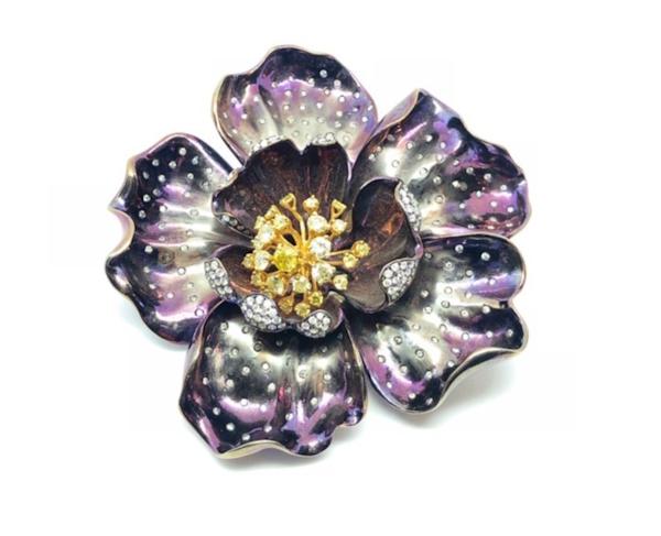 Purple Titanium White And Yellow Diamond Flower Brooch, 2010 - image 1