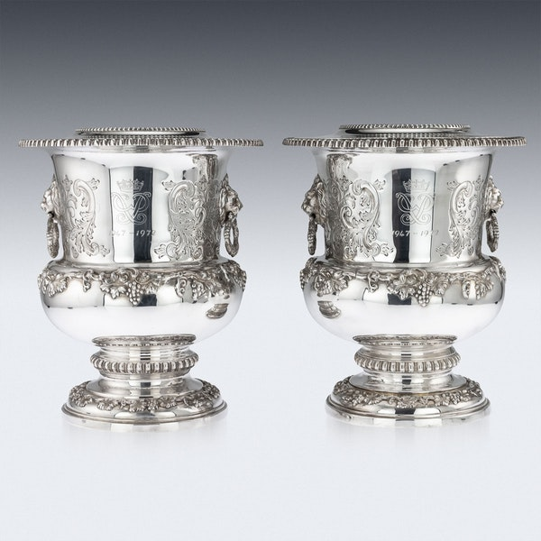 SUPERB 20thC ELIZABETH II SOLID SILVER WINE COOLERS, GARRARD & CO c.1972 - image 4