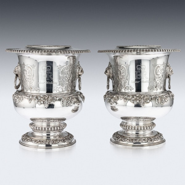 SUPERB 20thC ELIZABETH II SOLID SILVER WINE COOLERS, GARRARD & CO c.1972 - image 2