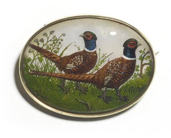 Reverse Crystal Pheasant Brooch - image 1