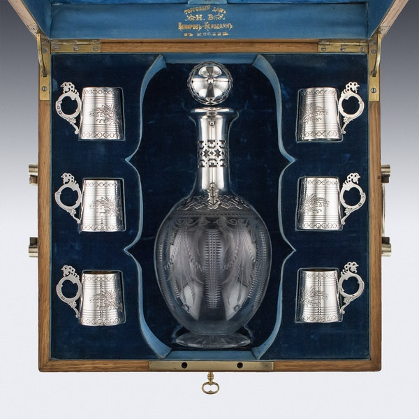 ANTIQUE 19thC RUSSIAN EIGHT-PIECE SOLID SILVER & GLASS VODKA SET c.1880 - image 3