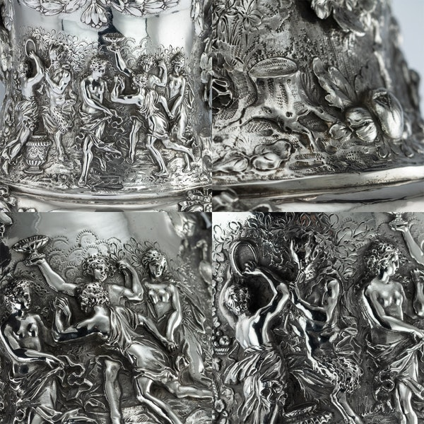 ANTIQUE 19thC GERMAN SOLID SILVER WINE COOLERS, GEORG ROTH, HANAU c.1890 - image 10