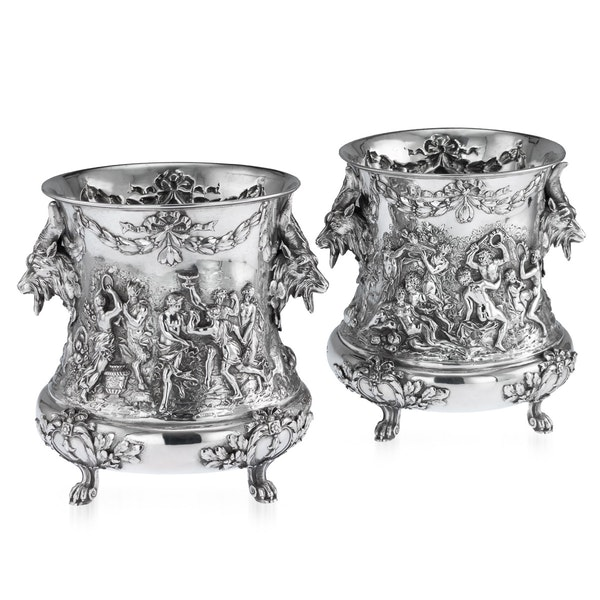 ANTIQUE 19thC GERMAN SOLID SILVER WINE COOLERS, GEORG ROTH, HANAU c.1890 - image 1