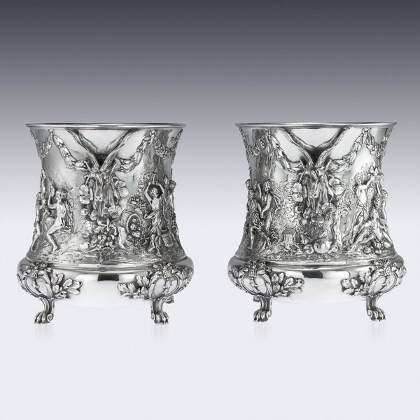 ANTIQUE 19thC GERMAN SOLID SILVER WINE COOLERS, GEORG ROTH, HANAU c.1890 - image 4