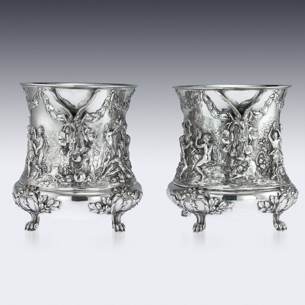 ANTIQUE 19thC GERMAN SOLID SILVER WINE COOLERS, GEORG ROTH, HANAU c.1890 - image 2