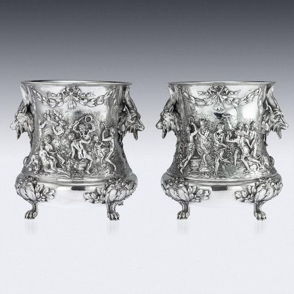 ANTIQUE 19thC GERMAN SOLID SILVER WINE COOLERS, GEORG ROTH, HANAU c.1890 - image 3