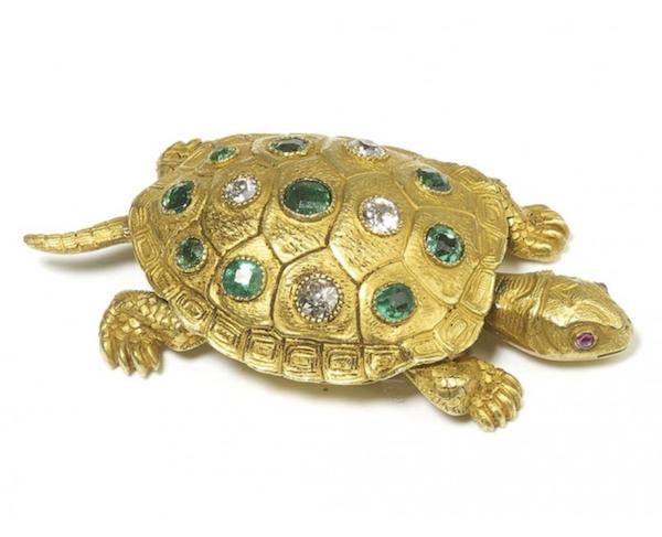 Emerald And Diamond Turtle Brooch By Edmond Plisson - image 1