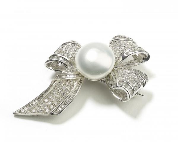 Vintage Pearl And Diamond Bow Brooch - image 1