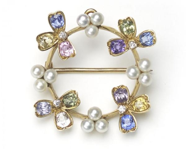 Tiffany & Co Gem Set Pearl Pendant Brooch - image 1