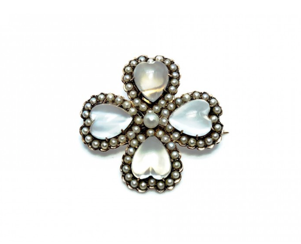 Moonstone And Pearl Four Leaf Clover Brooch/Pendant, 1890 - image 1