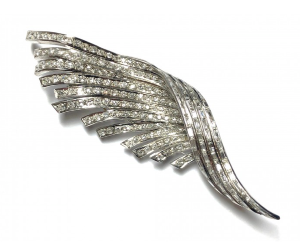 Diamond And Platinum Feather Brooch - image 1
