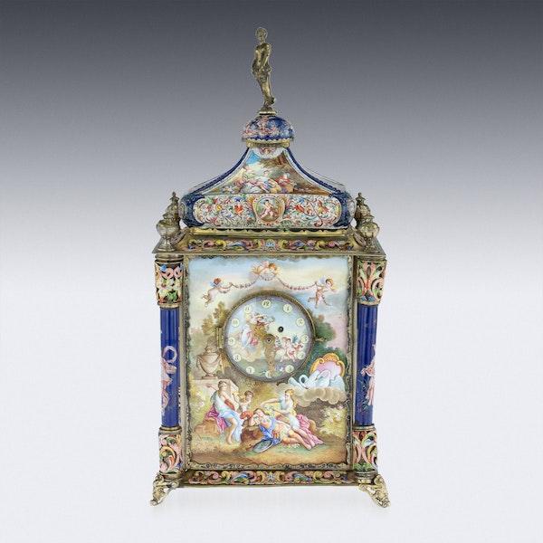 ANTIQUE 19thC AUSTRIAN SILVER-GILT & ENAMEL MANTEL CLOCK, RUDOLF LINKE c.1890 - image 2