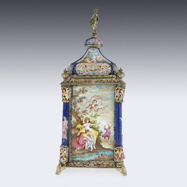 ANTIQUE 19thC AUSTRIAN SILVER-GILT & ENAMEL MANTEL CLOCK, RUDOLF LINKE c.1890 - image 3