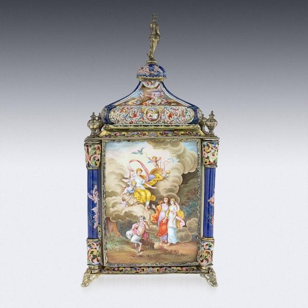 ANTIQUE 19thC AUSTRIAN SILVER-GILT & ENAMEL MANTEL CLOCK, RUDOLF LINKE c.1890 - image 4
