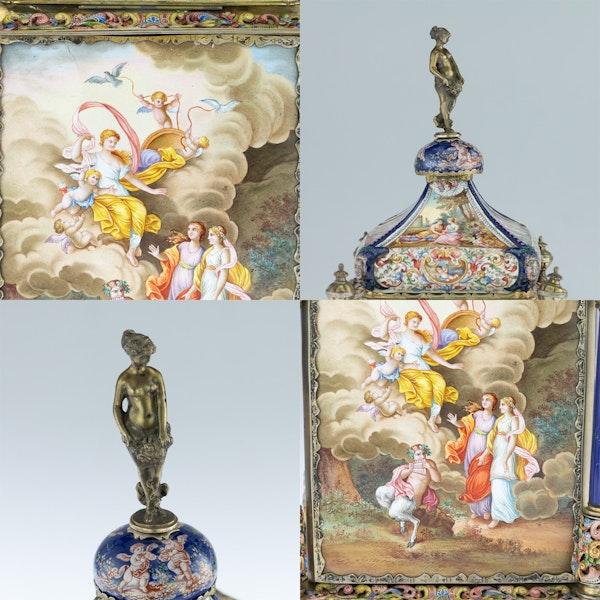 ANTIQUE 19thC AUSTRIAN SILVER-GILT & ENAMEL MANTEL CLOCK, RUDOLF LINKE c.1890 - image 9