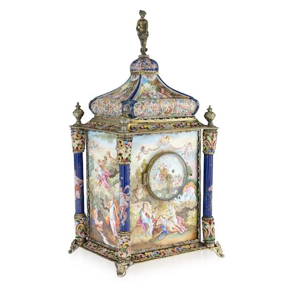 ANTIQUE 19thC AUSTRIAN SILVER-GILT & ENAMEL MANTEL CLOCK, RUDOLF LINKE c.1890 - image 1