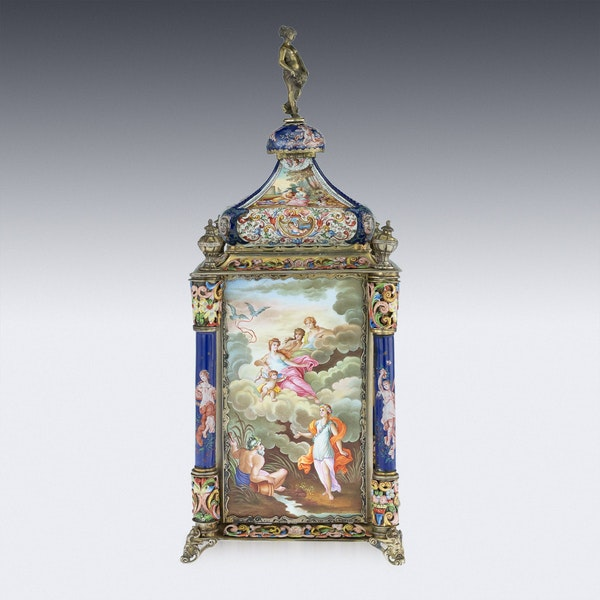 ANTIQUE 19thC AUSTRIAN SILVER-GILT & ENAMEL MANTEL CLOCK, RUDOLF LINKE c.1890 - image 5