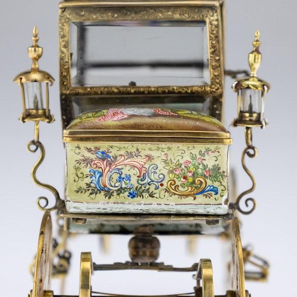 ANTIQUE 19thC AUSTRIAN SOLID SILVER-GILT & ENAMEL CARRIAGE, VIENNA c.1890 - image 12