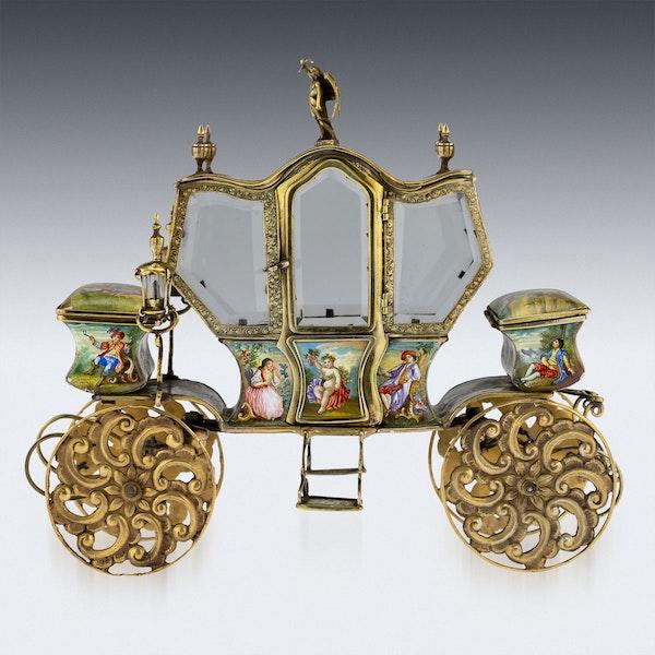 ANTIQUE 19thC AUSTRIAN SOLID SILVER-GILT & ENAMEL CARRIAGE, VIENNA c.1890 - image 2