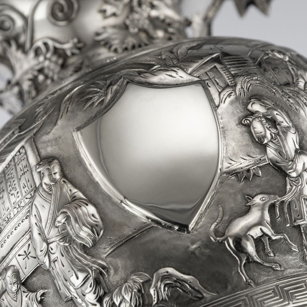 ANTIQUE 19thC CHINESE EXPORT SILVER TWO-HANDLE CUP & COVER, LUEN WO c.1880 - image 11