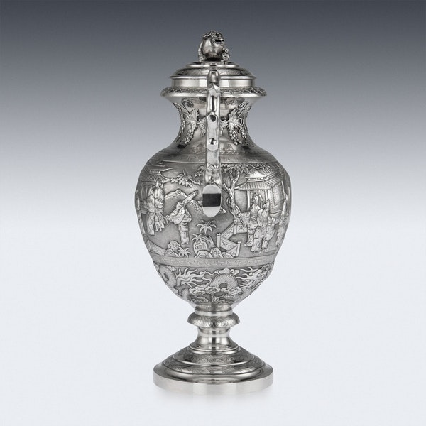 ANTIQUE 19thC CHINESE EXPORT SILVER TWO-HANDLE CUP & COVER, LUEN WO c.1880 - image 4