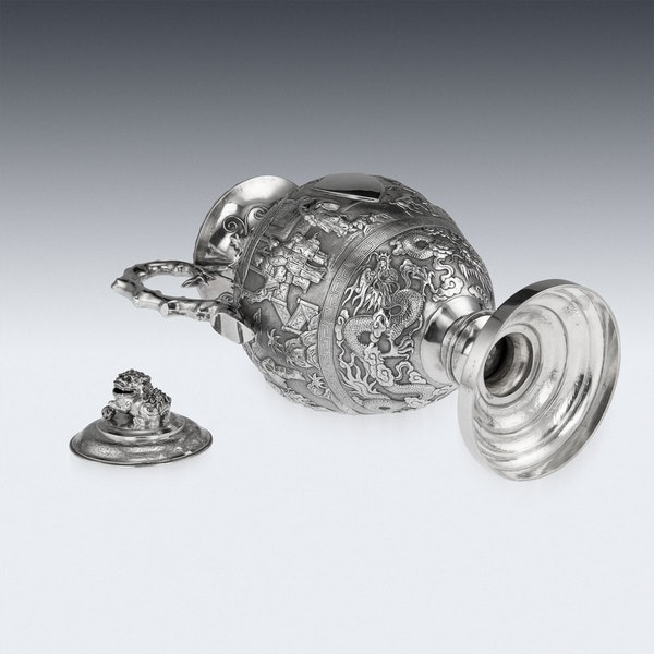 ANTIQUE 19thC CHINESE EXPORT SILVER TWO-HANDLE CUP & COVER, LUEN WO c.1880 - image 5