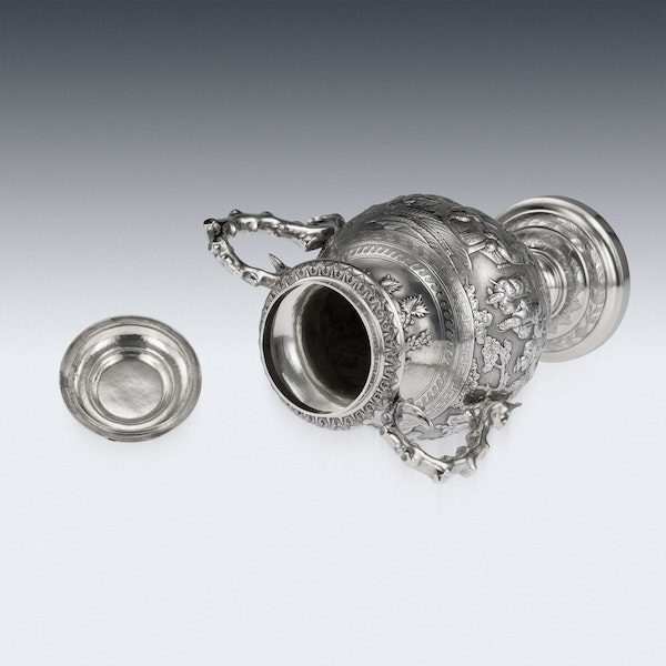 ANTIQUE 19thC CHINESE EXPORT SILVER TWO-HANDLE CUP & COVER, LUEN WO c.1880 - image 6