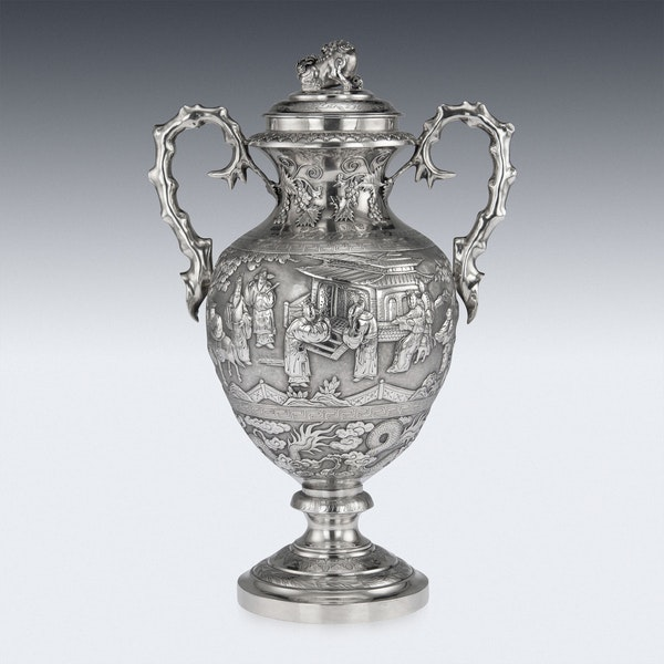 ANTIQUE 19thC CHINESE EXPORT SILVER TWO-HANDLE CUP & COVER, LUEN WO c.1880 - image 3