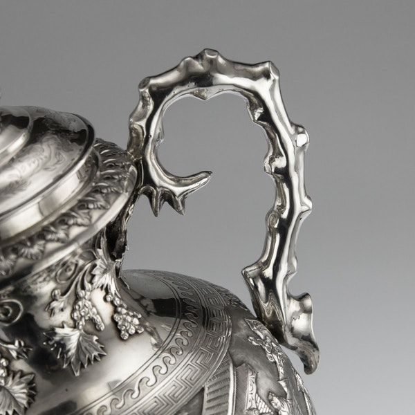 ANTIQUE 19thC CHINESE EXPORT SILVER TWO-HANDLE CUP & COVER, LUEN WO c.1880 - image 10