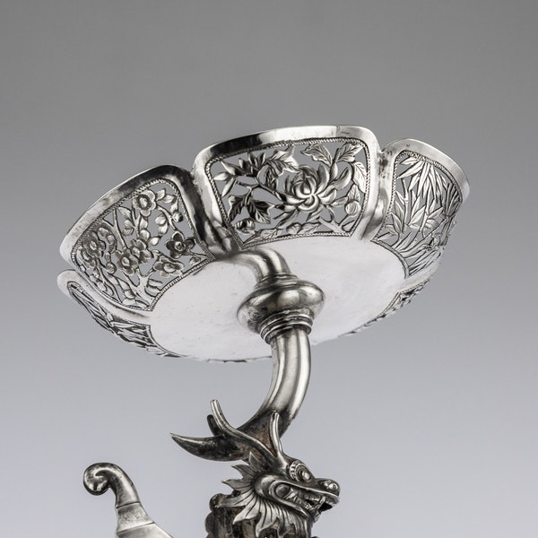 ANTIQUE 19thC CHINESE EXPORT SOLID SILVER DRAGON EPERGNE, HUNG CHONG & CO c.1890 - image 12