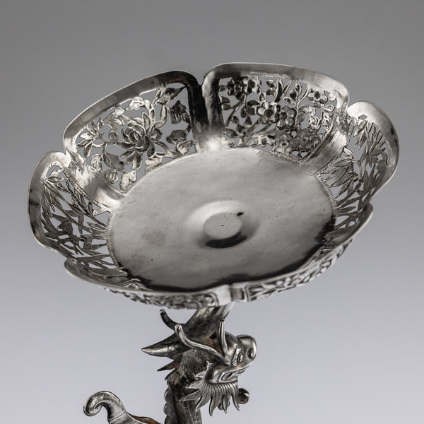 ANTIQUE 19thC CHINESE EXPORT SOLID SILVER DRAGON EPERGNE, HUNG CHONG & CO c.1890 - image 13