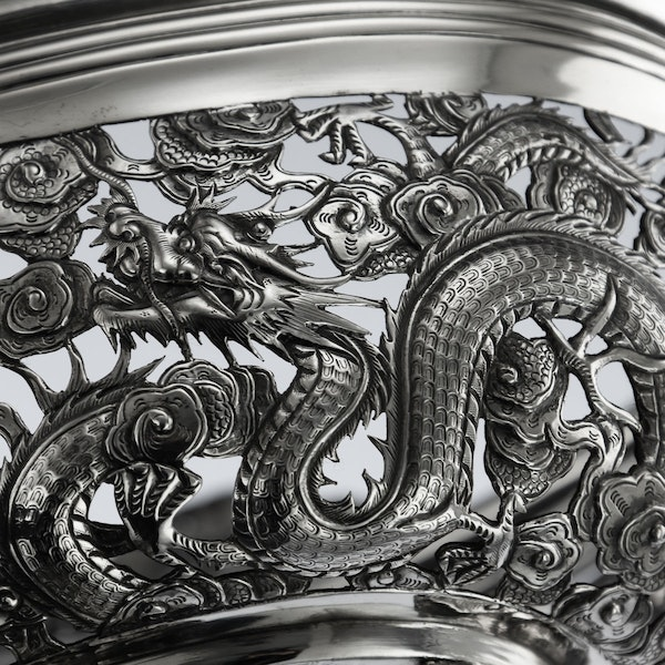 ANTIQUE 19thC CHINESE EXPORT SOLID SILVER DRAGON JARDINIERE, WANG HING c.1890 - image 12