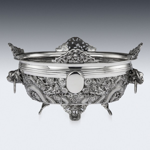ANTIQUE 19thC CHINESE EXPORT SOLID SILVER DRAGON JARDINIERE, WANG HING c.1890 - image 3
