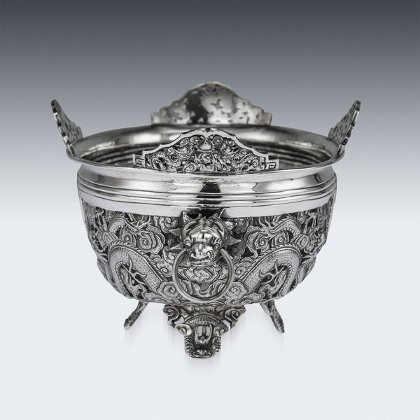 ANTIQUE 19thC CHINESE EXPORT SOLID SILVER DRAGON JARDINIERE, WANG HING c.1890 - image 2