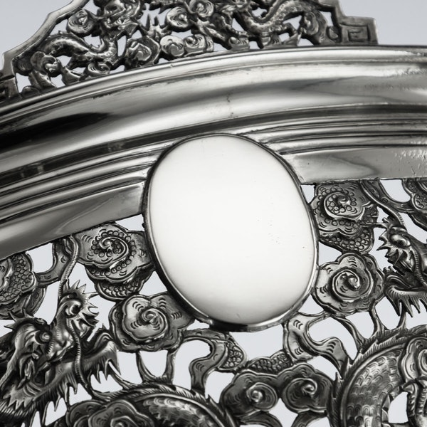 ANTIQUE 19thC CHINESE EXPORT SOLID SILVER DRAGON JARDINIERE, WANG HING c.1890 - image 7