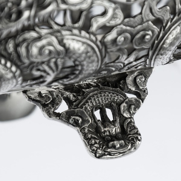 ANTIQUE 19thC CHINESE EXPORT SOLID SILVER DRAGON JARDINIERE, WANG HING c.1890 - image 10