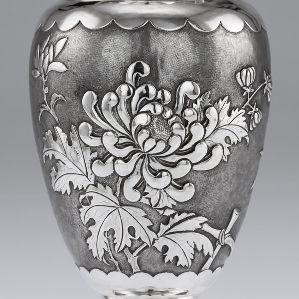 ANTIQUE 19thC CHINESE SOLID SILVER VASE, HENG LI, TIANJIN c.1890 - image 9