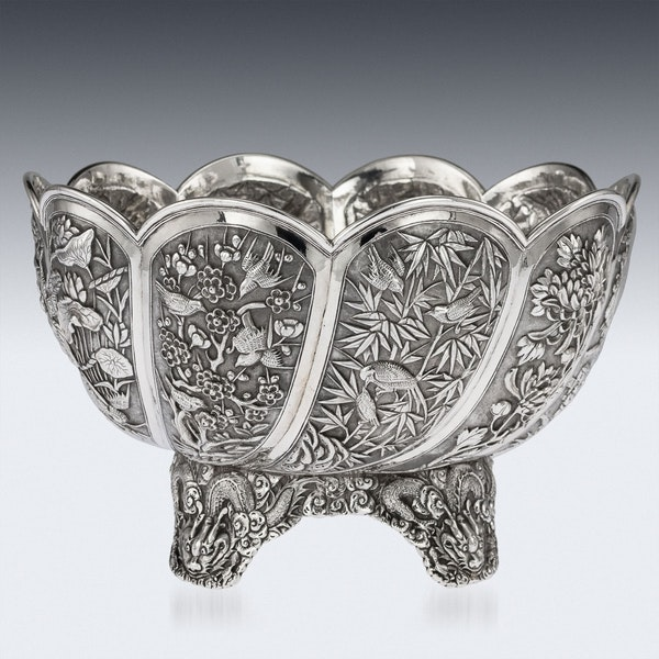 ANTIQUE 19thC CHINESE EXPORT SOLID SILVER BOWL, HUNG CHONG, SHANGHAI c.1890 - image 5