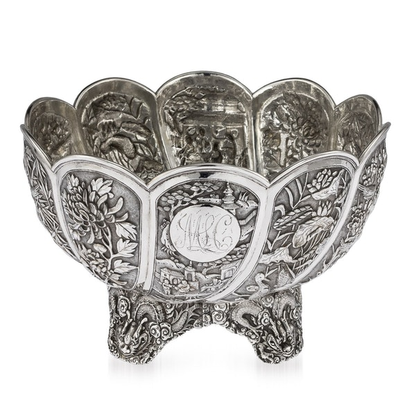 ANTIQUE 19thC CHINESE EXPORT SOLID SILVER BOWL, HUNG CHONG, SHANGHAI c.1890 - image 1