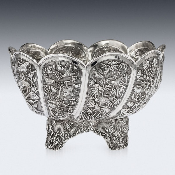 ANTIQUE 19thC CHINESE EXPORT SOLID SILVER BOWL, HUNG CHONG, SHANGHAI c.1890 - image 3