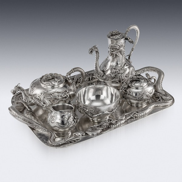 ANTIQUE 20thC JAPANESE SOLID SILVER TEA SERVICE ON TRAY, MIYAMOTO c.1900 - image 2