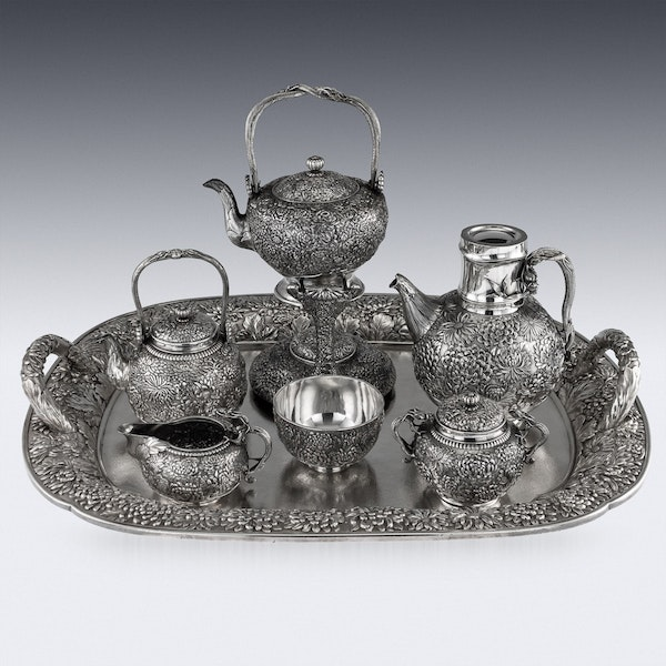 ANTIQUE 20thC JAPANESE SOLID SILVER TEA & COFFEE SERVICE ON TRAY, KONOIKE c.1900 - image 2